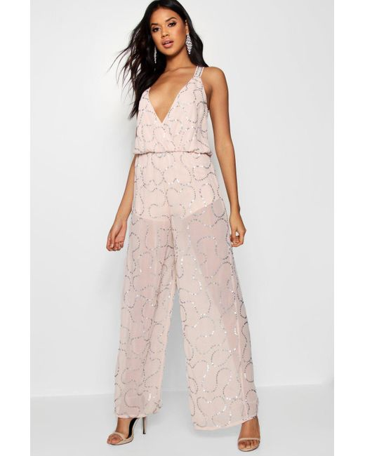 07b36f49277b Boohoo - Pink Boutique Sequin Wrap Jumpsuit - Lyst ...
