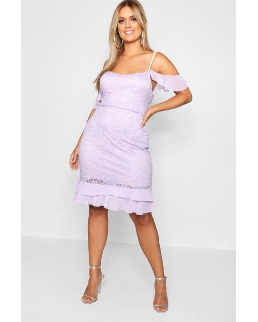 Boohoo - Purple Plus Cold Shoulder Lace Frill Dress - Lyst ... a3dad7469