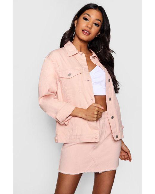 Boohoo - Pink Nude Oversized Denim Jacket - Lyst