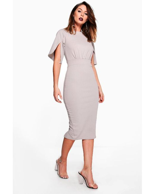 58a9a9d3efe4 Boohoo - Gray Split Sleeve Detail Wiggle Midi Dress - Lyst ...