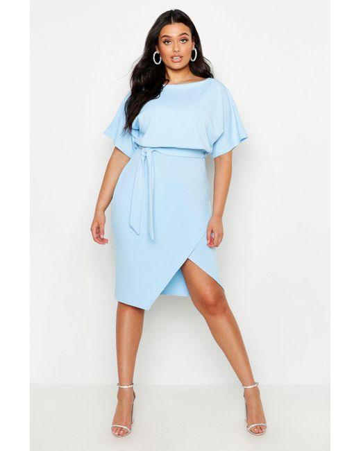 82b4692892fd Boohoo - Blue Plus Double Layer Midi Dress - Lyst ...