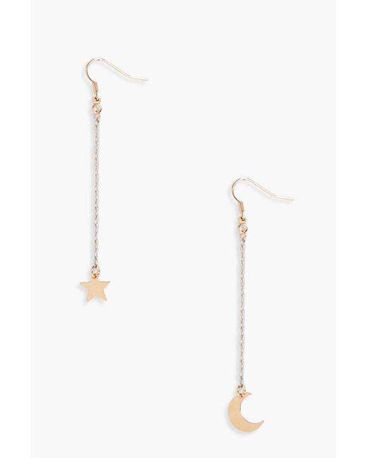 Boohoo - Metallic Moon And Star Drop Earrings - Lyst