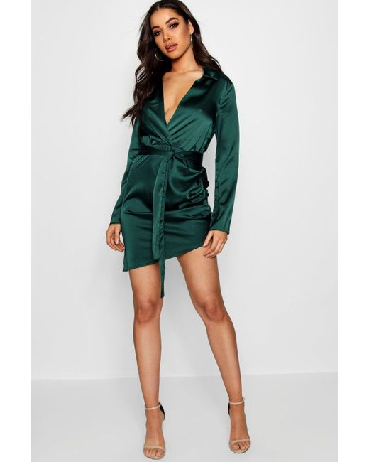 Boohoo - Green Satin Wrap Detail Dress - Lyst