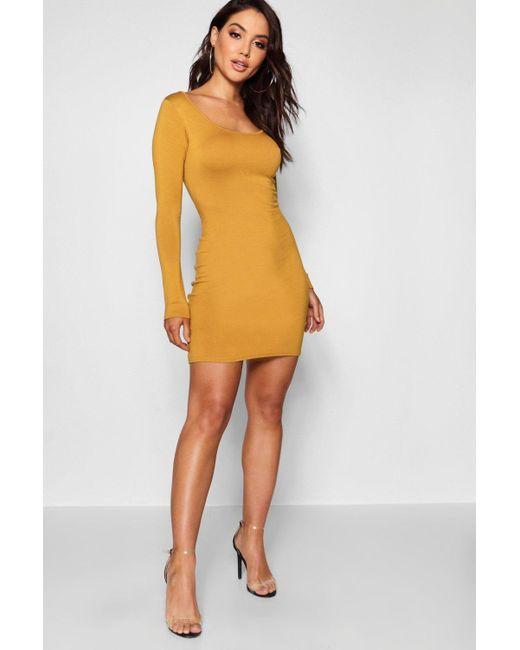 fab4120cf470 Boohoo - Multicolor Long Sleeve Scoop Neck Bodycon Dress - Lyst ...