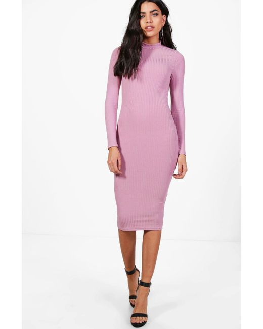3bbb4976e2400 Ribbed High Neck Long Sleeve Midi Dress - Dress Foto and Picture