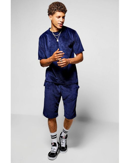 Boohoo | Blue Towelling T-shirt And Short Set for Men | Lyst