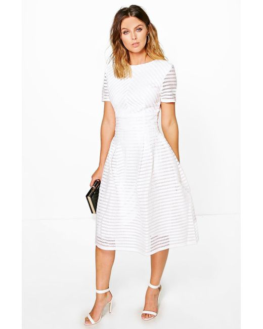 69e0cf5288f Boohoo - White Boutique Full Skirted Prom Midi Dress - Lyst ...
