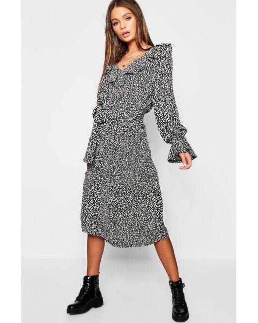 bb4fe4f77766 Boohoo - Black Ruffle Front Dalmatian Print Midi Dress - Lyst ...