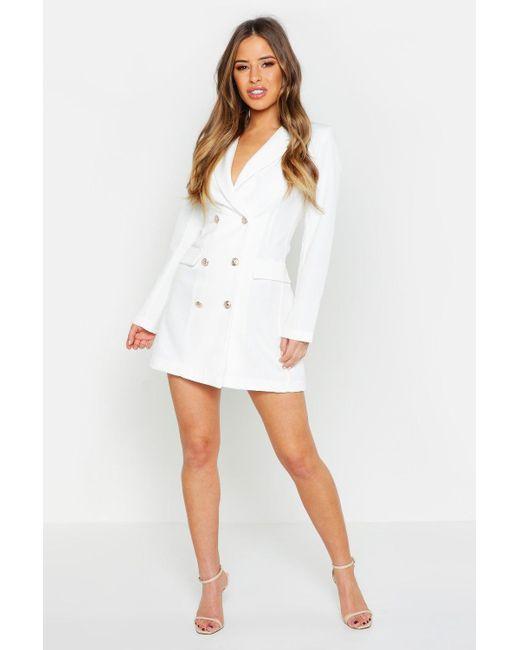 819a2f57325c Boohoo - White Petite Button Through Blazer Dress - Lyst ...