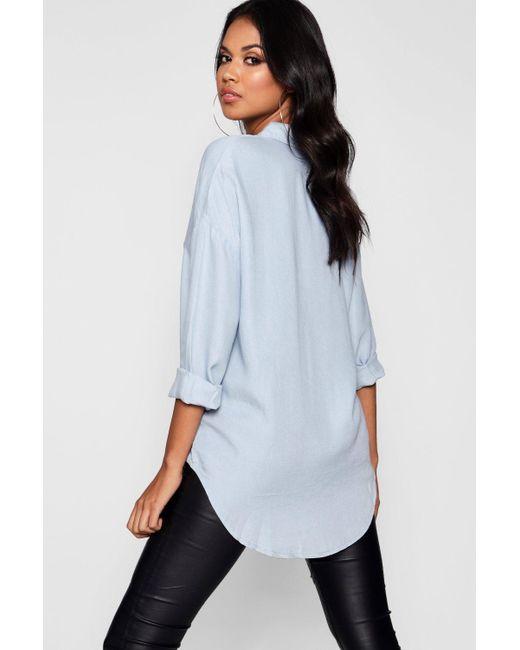 987efd44ab7 ... Boohoo - Blue Leah Oversized Soft Touch Denim Shirt - Lyst ...