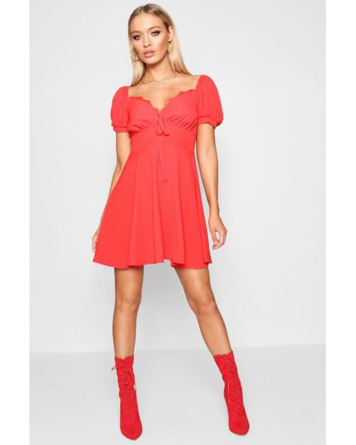 3a1239e866 Boohoo - Red Tie Front Woven Tea Dress - Lyst ...
