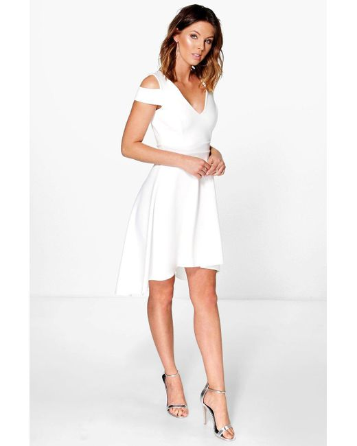 bcd56a01f0 Boohoo - Natural Bardot Plunge High Low Skater Dress - Lyst ...