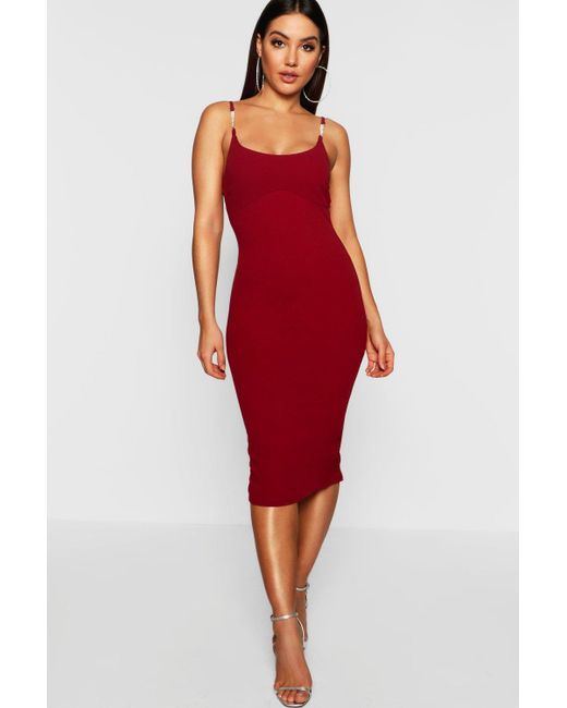 7e1e67e6b84e3 Boohoo - Red Strap Detail Midi Dress - Lyst ...