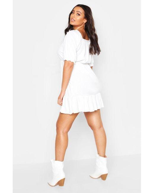 75a9e04913d79 ... Boohoo - White Plus Rib Ruched Ruffle Skater Dress - Lyst