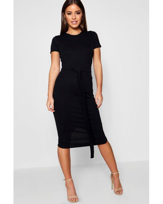 3df512341270 Boohoo - Black Petite Pleat Front Belted Tailored Midi Dress - Lyst ...