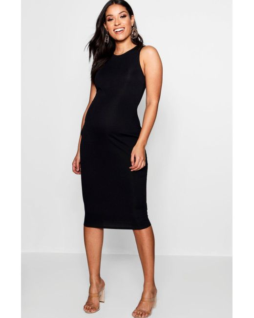 8a02fa63d7cb6d Boohoo - Black Maternity High Neck Ribbed Midi Dress - Lyst ...