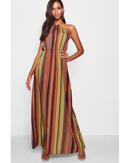 7846d5ff747e Boohoo - Brown Stripe Halter Cut Out Maxi Dress - Lyst ...