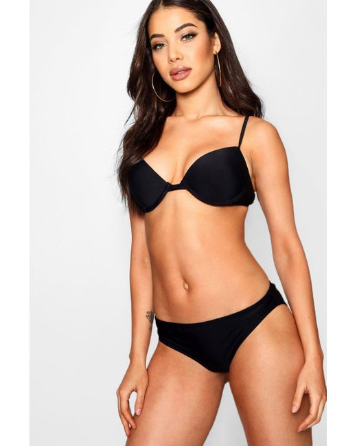 51d00743dc118 Boohoo - Black Padded Push Up Plunge Underwired Bikini - Lyst ...