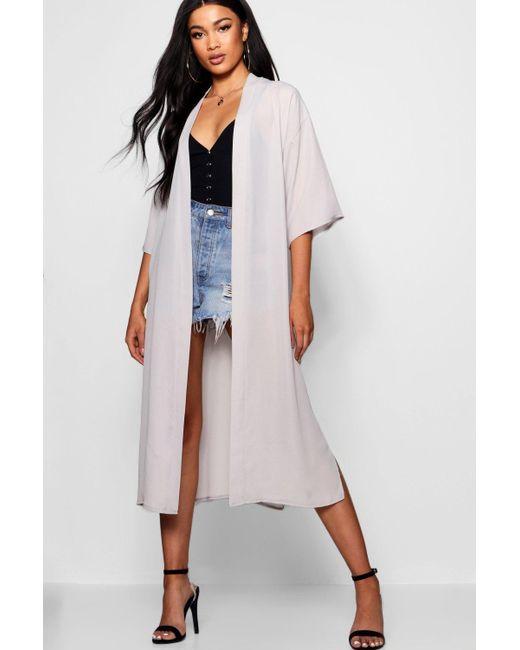 Boohoo - Gray Midi Chiffon Kimono - Lyst