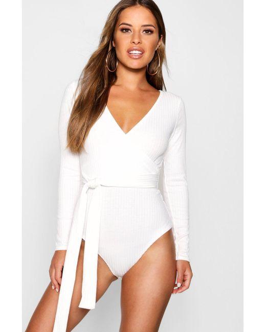 da61148e980 Boohoo - White Petite Knitted Wrap Bodysuit - Lyst ...