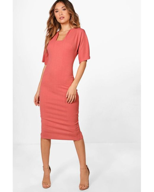 Boohoo Jodie Formal Curved Neck Fitted Midi Dress Lyst