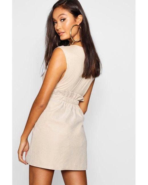 e827546f0d ... Boohoo - Natural Woven Linen Button Through Mini Skirt - Lyst ...