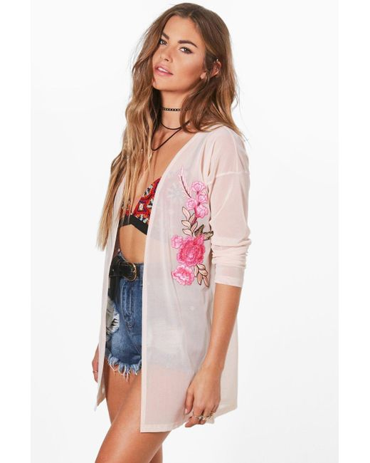 Boohoo | Pink Clara Embroidered Mesh Kimono | Lyst