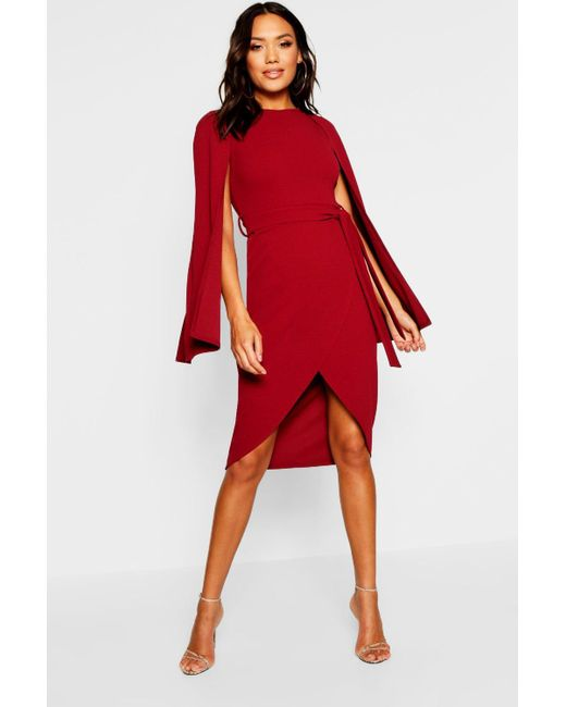 761d6193d83c Lyst - Boohoo Cape Sleeve Tie Waist Wrap Midi Dress in Red