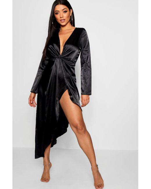 cdcd1a057e87 Boohoo - Black Knot Front Midi Satin Asymmetric Hem Dress - Lyst ...