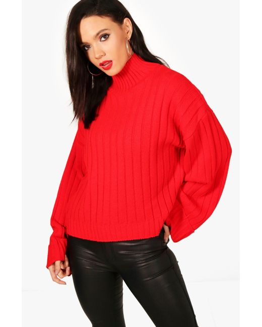 Boohoo - Red Tall Maxi Wide Sleeve Rib Jumper - Lyst