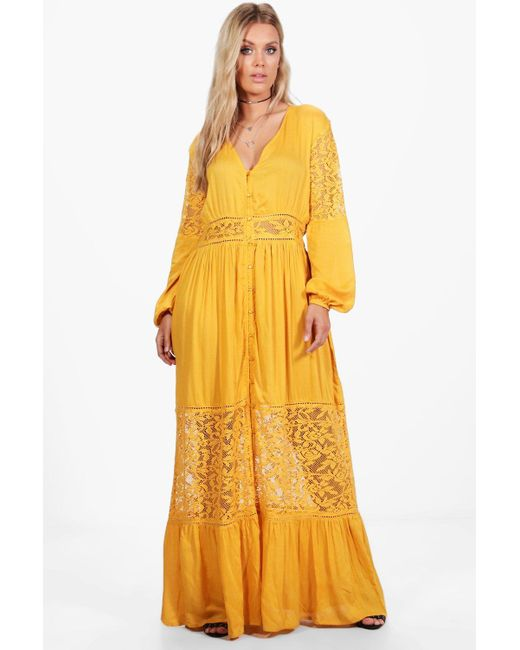 e8064058a2 Boohoo - Yellow Plus Boho Lace Insert Maxi Dress - Lyst ...