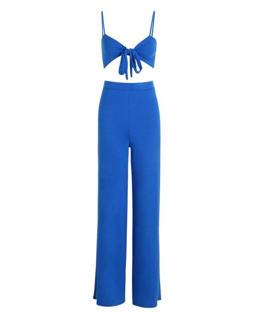 a09dc2d25cb5 ... Lyst Boohoo - Blue Tie Front Top & Wide Leg Pants Co-ord ...