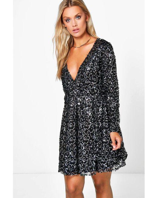 68877f99fd1b Boohoo - Black Plus Sequin Wrap Skater Dress - Lyst ...