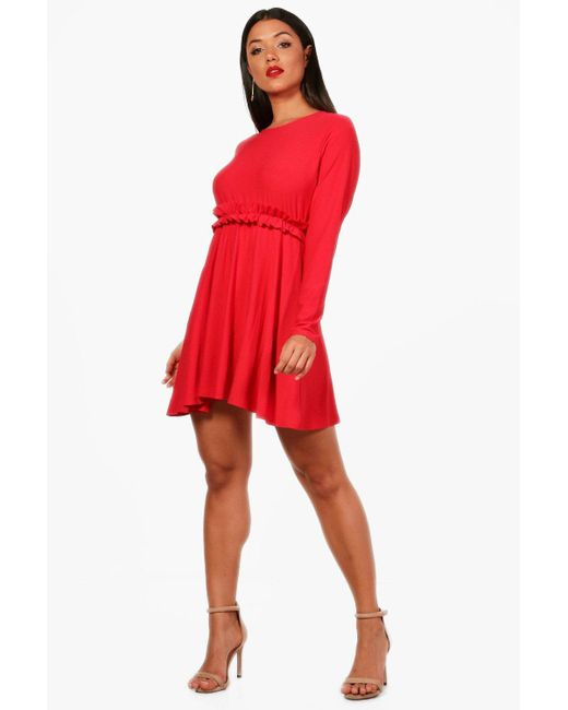 Boohoo - Red Micro Ruffle Skater Dress - Lyst
