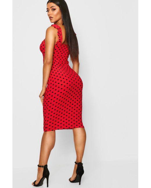 c74d42ac123 ... Boohoo - Red Polka Dot Frill Detail Midi Dress - Lyst