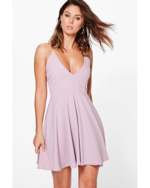 6e11b8228e2a Boohoo - Purple Strappy Plunge Neck Skater Dress - Lyst ...