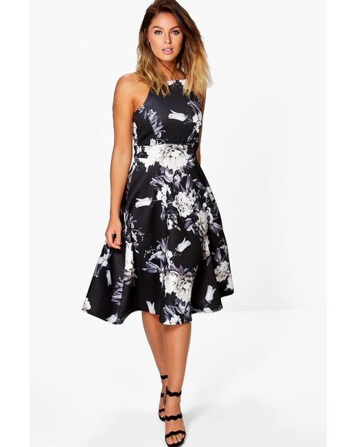 Boohoo - Black Eleanor Floral Strappy Midi Skater Dress - Lyst