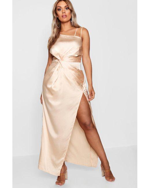 fba1a8381a75 Boohoo - Multicolor Plus Satin Knot Front Maxi Dress - Lyst ...