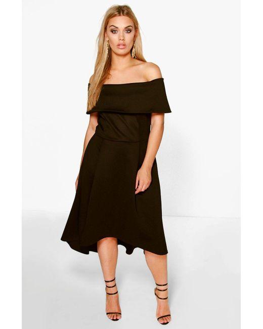 9d810082bd8a Boohoo - Natural Plus Double Layer Midi Dress - Lyst ...