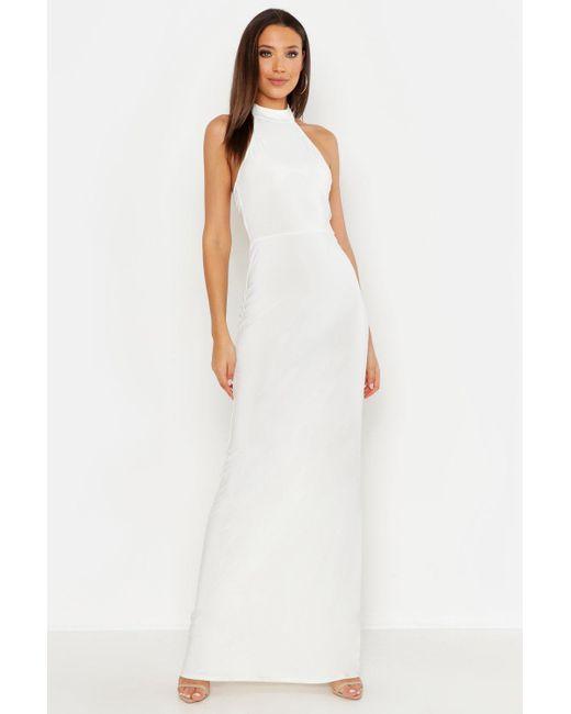 9cc61a272070 Boohoo - White Tall High Neck Maxi Dress - Lyst ...