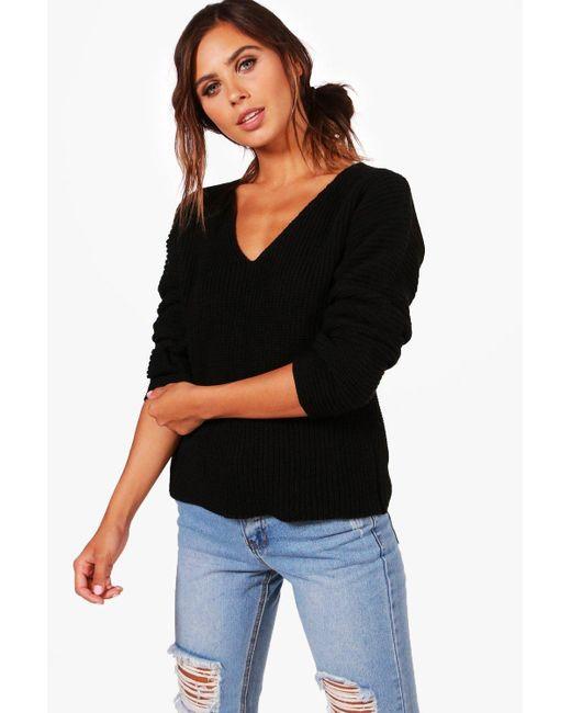 Boohoo | Black Petite Teri Ruched Sleeve V Neck Jumper | Lyst
