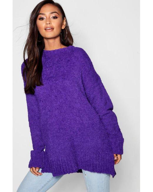 Boohoo - Purple Petite Oversized Longline Feather Knit Jumper - Lyst