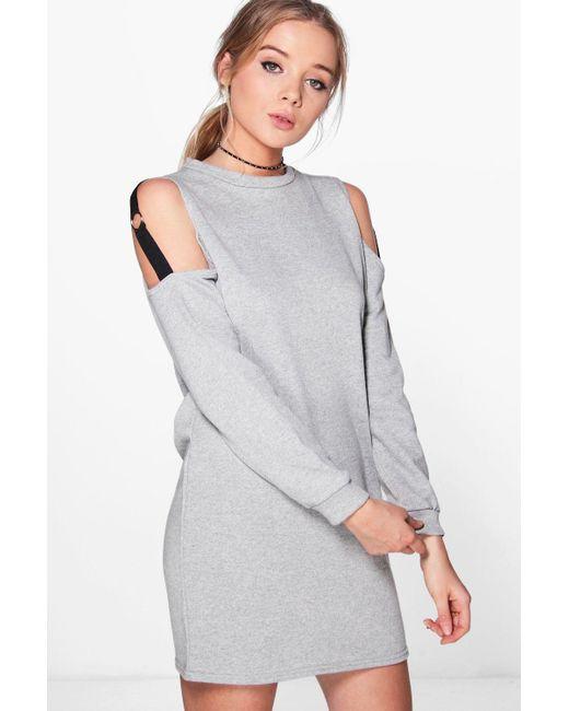 Boohoo | Gray Olivia O Ring Cold Shoulder Sweat Dress | Lyst