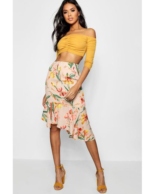 e05b54bc45 Boohoo - Multicolor Woven Floral Asymetric Ruffle Midi Skirt - Lyst ...