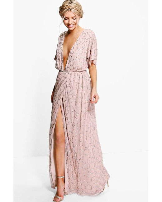 Boohoo - Pink Boutique Tiai All Sequin Tie Back Maxi Dress - Lyst ...