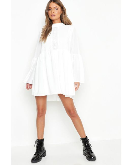 f757c1fd5984 Boohoo - White Boho Crochet Detail Wide Sleeve Smock Dress - Lyst ...