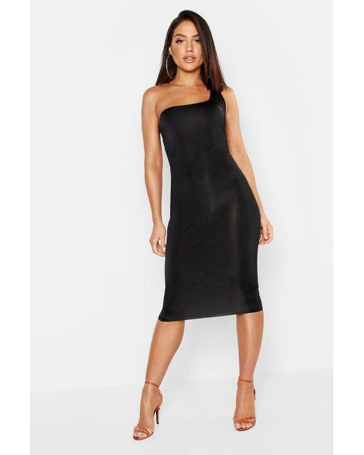 86aa009133c3 Boohoo - Black Slinky One Shoulder Midi Dress - Lyst ...