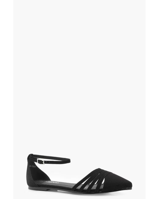 Boohoo - Black Caged Front Pointed Flats - Lyst