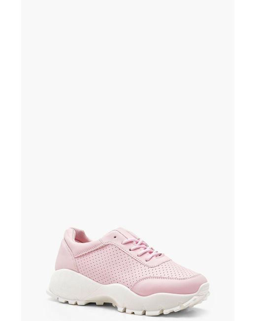 Boohoo - Pink Cleated Chunky Sole Trainers - Lyst