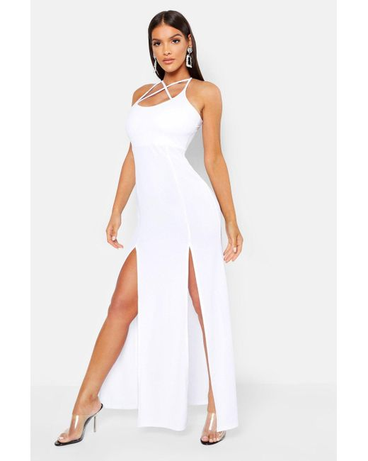 Boohoo - White Strappy Plunge Maxi Dress - Lyst